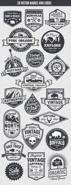 Buy 20 Vintage Style Badges and Logos by GraphicMonkee on GraphicRiver. Overview This vector set contains 20 vintage / retro styled badges, signs and logos. The graphics are vector and. Vintage Logo Design, Vintage Designs, Vintage Style, Vintage Graphic, Vintage Art, Posters Vintage, Vintage Labels, Typography Design, Branding Design