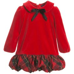 Ralph Lauren baby girls bright red long sleeved dress made from super soft velvet with a gorgeous tartan bubble hem skirt. In a classic and traditional style,
