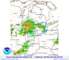 SPC Severe Thunderstorm Watch 45 - http://blog.clairepeetz.com/spc-severe-thunderstorm-watch-45/
