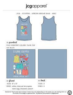 JCG Apparel : Custom Printed Apparel : Sigma Kappa Spring Break T-Shirt #sigmakappa #springbreak #bikini #tanktop #flipflops #shades #sunscreen #whatsinyourbeachbag