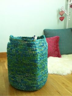 fair-trade basket made from used plastic bag: from Cambodia