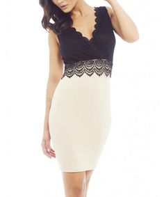Another great find on #zulily! Cream & Black Lace Surplice Dress by AX Paris #zulilyfinds