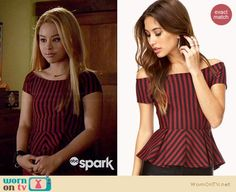 Mariana's red and black striped peplum top on The Fosters.  Outfit Details: https://wornontv.net/33991/ #TheFosters