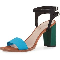Loeffler Randall Sylvia Colorblock City Sandal (14.305 RUB) ❤ liked on Polyvore featuring shoes, sandals, aquamulti, open toe leather sandals, leather shoes, open toe sandals, block shoes and loeffler randall sandals