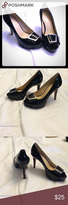 "BN Nine West size 7 ""cassilina"" heels black Brand new peep toe, black, shiny heels with silver accent. Classic & stunning ""cassilina"" Nine West Nine West Shoes Heels"