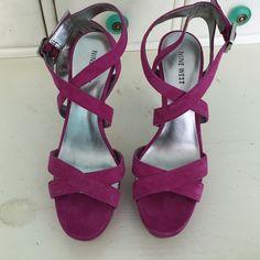 "Hot pink Nine West suede pump Great condition hardly worn! 5"" heel 1"" platform Nine West Shoes Platforms"