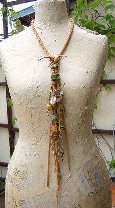 Leather Necklace Fringe Amulet Tribal  Desert  Handmade Beads Necklace Wearable Art , OOAK
