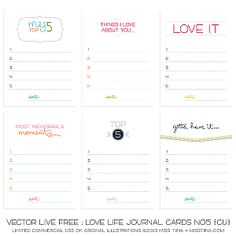 lists 60 free printables for journal Live Free : Love Life Journal Cards No5 {CU}