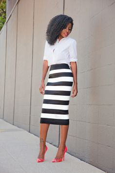 Button-Down Shirt + Striped Pencil Midi Skirt. All meant just to emphazise and draw attention on the electric orange, amazing shoes!