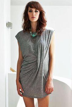 Nova asymetric dress - grey marl [9430] : Nancy Dee , Webshop