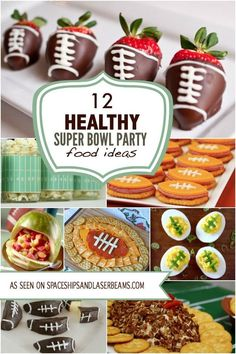 12 Healthy Super Bowl Party Food Ideas - - It's football game snacking season and you're on a diet? You'll love these healthy Super Bowl party food ideas! Healthy Superbowl Snacks, Football Snacks, Game Day Snacks, Snacks Für Party, Game Day Food, Football Parties, Quick Snacks, Superbowl Food Ideas, Football Recipes