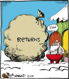 #todaysHumour #NewYearCountdown . . . . #joke #jokes #pun #puns #clever #wordplay #playonwords #playwithwords #funny #funnies #todaysfunnies #fun #santa #santaclaus #return
