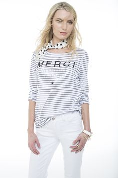 Classic at its best. The striped long sleeved tee worn with slim flare white denims. Nautical Fashion, White Denim, Art Direction, Fashion Online, Flare, Long Sleeve Tees, Stylists, Fashion Accessories, Plus Size