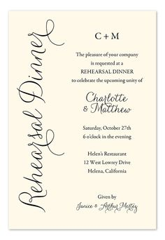 Everyday Charm - Rehearsal Dinner Invitations by Invitation Consultants. (Item # IC-RLP-1026-EC )