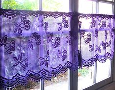Lilac Lavender Lace Valance Cafe Curtains, Two French Panels