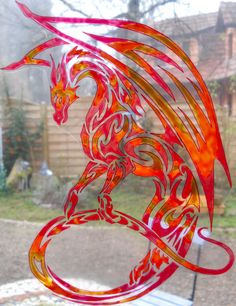fire dragon wicoart HANDMADE STAINED GLASS EFFECT WINDOW CLING EASY TO APPLY AND TO REMOVE HAND PAINTED WITH GALLERY GLASS AND GLASS PAINT PEBEO ON AN ELECTROSTATIC VINYL SHEET ONE OF A KIND OOAK