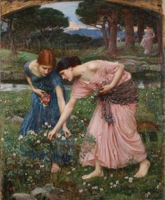 Gather Ye Rosebuds While Ye May, 1909 by John William Waterhouse. Romanticism. literary painting. Private Collection