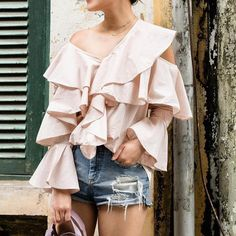 Fashion Ruffle V-neck Light Pink Off Shoulder Long Sleeve Blouse – Vestwiki Girl Fashion, Fashion Dresses, Fashion Clothes, Review Fashion, Blouse Styles, Types Of Sleeves, Sleeve Styles, Polka Dots, Cute Outfits