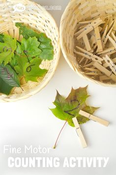 FINE MOTOR COUNTING ACTIVITY - This wonderful seasonal counting activity uses leaves to develop early math one to one correspondence, number recognition and develop fine motor skills too. Maths Eyfs, Numeracy Activities, Nursery Activities, Motor Skills Activities, Nature Activities, Autumn Activities, Fine Motor Skills, Math Skills, Sensory Activities
