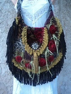 Large Handmade Carpert Shoulder Bag Gypsy Hippie Boho Tote Fringe Purse tmyers #Handmade #TotesShoppers