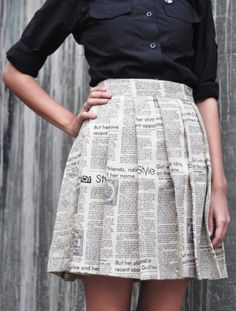 Pleated Newspaper Skirt