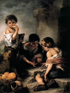 For Sale on - A fine and large century oil on canvas after Bartolomé Esteban Murrillo's (Spanish, 'Beggar Boys Playing Dice' (The original work by Murillo Playing Dice, Boys Playing, Esteban Murillo, Saint Gregory, St Clare's, Baroque Painting, Spanish Artists, Spanish Painters, Classic Paintings