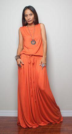 Orange Maxi Dress   Sleeveless dress  Autumn Thrills by Nuichan, $59.00