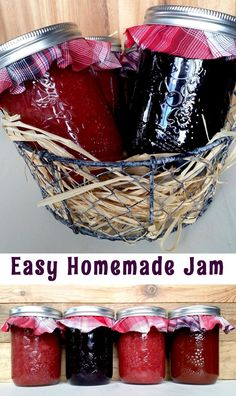Easy homemade jam using only three ingredients. Any combination of fruit or berries will work for this recipe. Easy homemade jam using only three ingredients. Any combination of fruit or berries will work for this recipe. Homemade Jelly, Homemade Gifts, Homemade Butter, Homemade Food, Salsa Dulce, Freezer Jam, Jelly Recipes, Lunch Recipes, Jalapeno Recipes