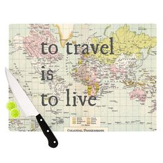 """Catherine Holcombe """"To Travel Is To Live"""" Color Map Cutting Board 