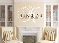 Items similar to Family Name Wall Decal Monogram - Home Art Last Name Custom Established Date on Etsy Name Wall Art, Name Wall Decals, Monograms, Home Art, Etsy, Home Decor, Decoration Home, Room Decor, Home Interior Design
