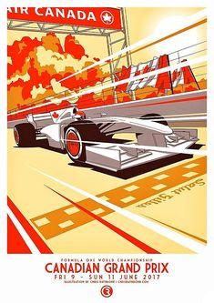2017 Canadian Grand Prix poster! Montreal, Canada hosts the 50th running of the Formula 1Grand Prix of Canadaon 11 June 2017 at the Circuit Gilles Villeneuve on the city's Ile Notre-Dame (Notre Dame Island), a man-made island in theSt. Lawrence River. The first F1 Canadian Grand Prix was held at Mosport in Ontario, Canada, on 27 August 1967 after Canada's successful bid to host a Formula 1 race.   Artwork by Chris Rathbone