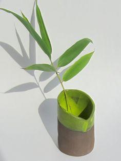 "Vase, ""Bamboo"" series 2016 (brown clay, yellow green glaze). New Ceramic Design by Studio Saskia Lauth / France - www.saskia-lauth.com"