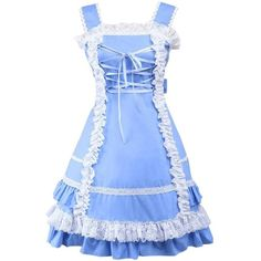 Partiss Women's Halter Bow Ruffles Sweet Classic Lolita Dress (€48) ❤ liked on Polyvore featuring dresses, blue halter dress, blue dress, halter cocktail dress, flounce dress and halter-neck dress