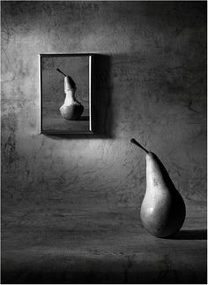 Black and white B&W photography // karen cox. Smashingly creative Pear series by Victoria Ivanova. This one being: The Pear of Dorian Gray