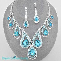 Malibu Turquoise Blue Crystal Necklace Set Prom Elegant Chunky Costume Jewelry   eBay