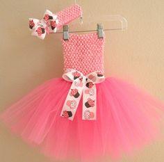 Pink Cupcake Birthday Tutu Dress and Headband Set