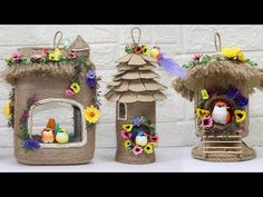 YouTube Diy Crafts For Home Decor, Jute Crafts, Air Dry Clay, Bottle Crafts, Bird Houses, Handicraft, Diy Art, Concept, Ornaments