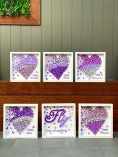 Inspirational Art  Set of Wall Art Decor  Butterflies Hearts | Etsy Girls Room Wall Decor, Nursery Wall Art, Wall Art Decor, Butterfly Wall Art, Paper Butterflies, Painted Paper, Artwork Design, Unique Art, Framed Artwork