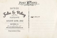Vintage Save the Date Postcard  the Julie by NostalgicImprints, $38.00