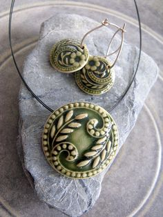 Porcelain jewelry - Stoneware bottle green jewelry set. by Nootenzo, via Flickr