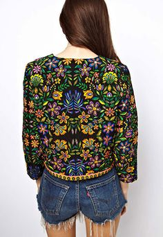usd34.99/Image of Folk Style Retro Floral Print Leisure Jacket