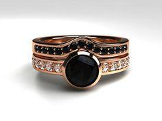 Black diamond engagement ring set rose gold by TorkkeliJewellery