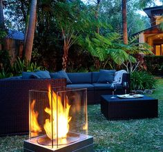 Perhaps the antithesis of a proper campfire, but sleek and very attractive, for the right yard.