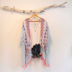 Colorful bohemian kimono  Neon tassels  by NORTHBOHEME on Etsy