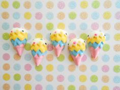 Ice Cream Cone - Ice Cream Cabochon - Sprinkle Ice Cream Flatback - (5 pcs) Decoden Cabochons, Kawaii Cabochon