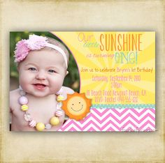 You Are My Little Sunshine Birthday Invitation  by FourLeafPrints, $13.00