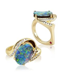 Oxidized sterling silver 22kt gold boulder opal ring by Zaffiro ...