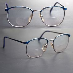 ba72ab9ca09 Items similar to cherryREVOLVER Vintage PERRY ELLIS Eye Glasses Men or  Women Unisex Blue and Gold Metal Arms 90s Prescripton RX Eyewear on Etsy