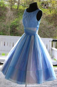 Vintage 1950s 50s Blue Chiffon & Taffeta Original Jr Theme New York  Full SkirtProm Garden Party Dress