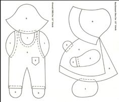 Free Overall Bill Quilt Pattern | found a free site for sunbonnet sue but nothing for sam.                                                                                                                                                                                 More